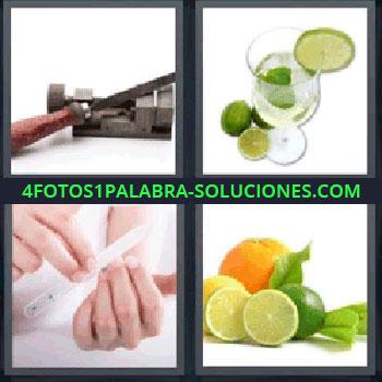 4 Fotos 1 Palabra - siete-letras limon, Herramienta, Bebida con rodajas de lima, Lima de uñas, Limón y naranja.
