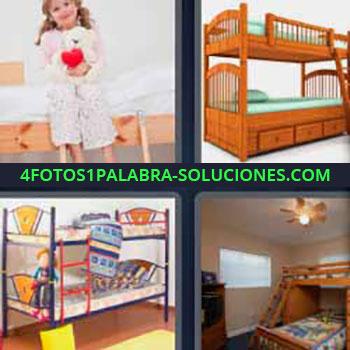 4 Fotos 1 Palabra - seis-letras cama niños. Niña con osito de peluche. Cama una encima de otra. Dormitorios de niños.