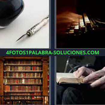 4 Fotos 1 Palabra - siete-letras máquina escribir antigua. Pluma escritura. Biblioteca. Leyendo libro.