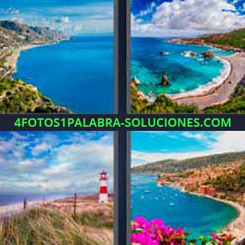 4 Fotos 1 Palabra - seis-letras costa playa. Mar. Océano. Faro en el mar. Pueblo en la costa. Playas.