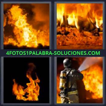 4 Fotos 1 Palabra - seis-letras fuego bombero. Incendio. Bombero apagando el fuego.