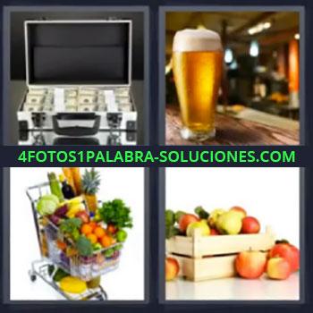 4 Fotos 1 Palabra - cinco-letras maletin con dinero, Cerveza, Carro de la compra, Caja de comida
