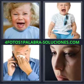 4 Fotos 1 Palabra - siete-letras bebe. Bebes o niños. Hombre con pañuelo en los ojos. Mujer cayendo lagrimas.