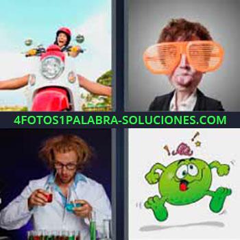 4 Fotos 1 Palabra - siete-letras lentes grandes. Niño moto. Gafas gigantes. Científico con líquidos. Dibujo personaje verde.
