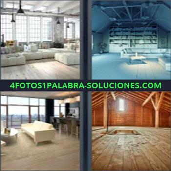 4 Fotos 1 Palabra - sofá blanco. Sala de lujo. Estudio. Casa con sofás blancos. Buhardilla de madera.
