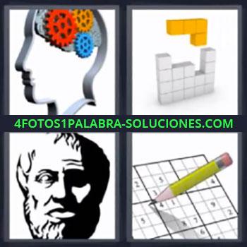 4 Fotos 1 Palabra - seis-letras cerebro con engranajes. Sudoku. Tetris. Tabla.