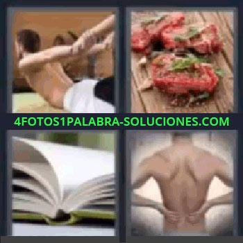 4 Fotos 1 Palabra - cinco-letras carne libro espalda, chico ejercitando espalda, trozos de carne, libro abierto, espalda de chico.