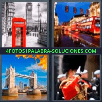 4 Fotos 1 Palabra - ocho-letras cabina telefonica roja. Autobús rojo. Puente con torres sobre río. Soldado vestido de rojo.