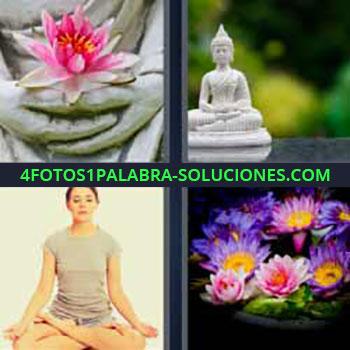 4 Fotos 1 Palabra - ocho-letras flor rosa. Estatua budismo. Mujer meditando. Flores de colores.