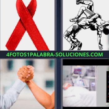 4 Fotos 1 Palabra - cinco-letras lazo rojo. Dibujo hombres peleando. Personas haciendo pulso. Persona en cama hospital.