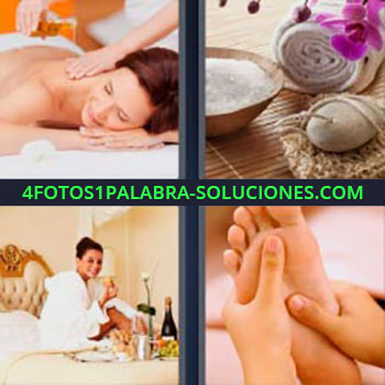 4 Fotos 1 Palabra - masaje en la espalda a mujer. Piedra, toalla, y elementos para masajes. Chica en habitación de hotel. Reflexología o masaje de pies