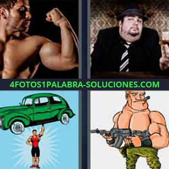 4 Fotos 1 Palabra - seis-letras hombre musculoso. Hombre traje negro. Dibujo coche verde. Dibujo militar o guerrero.