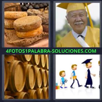 4 Fotos 1 Palabra - seis-letras barriles graduado, Quesos, Sr. mayor graduado