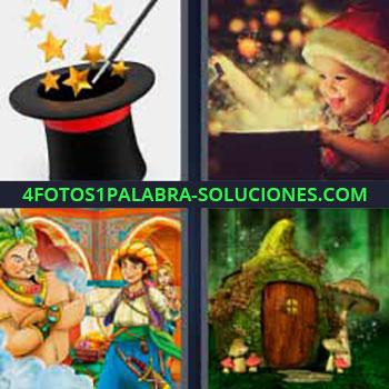 4 Fotos 1 Palabra - niño gorro Santa Claus. Sombrero de copa y varita mágica. Dibujo niño y genio de la lámpara. Casas y setas dibujos o caricaturas.