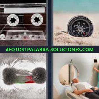 4 Fotos 1 Palabra - cinco-letras cassette o cinta antigua. Brújula en la arena. Hombre pruebas hospital.