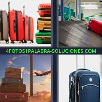 4 Fotos 1 Palabra - ocho-letras equipaje. Cinta aeropuerto. Valija. Maletín. Maletas.