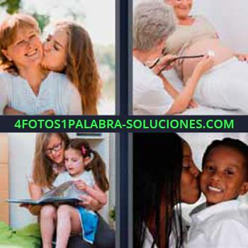 4 Fotos 1 Palabra - tres-letras madre e hija. Embarazada y doctor. Niña leyendo Dando beso a niño.