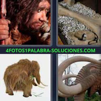 4 Fotos 1 Palabra - cinco-letras hombre primitivo. Huesos fósil. Animal grande con cuernos. Mastodonte.
