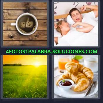 4 Fotos 1 Palabra - cinco-letras cafe pareja despertando. Amanecer. Desayuno cruasán.