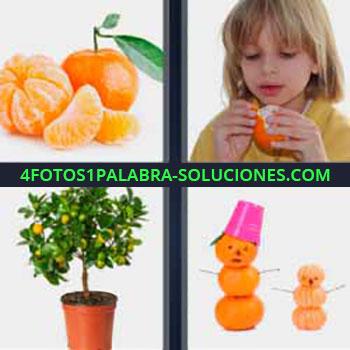 4 Fotos 1 Palabra - naranja. Frutas. Niño comiendo naranja. Toronja. Cítricos. Planta en maceta. Figuras muñecos con fruta.
