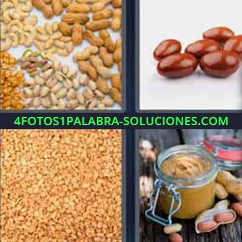 4 Fotos 1 Palabra - cinco-letras frutos secos. Cacahuates. Semillas. Crema de cacahuete.