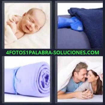 4 Fotos 1 Palabra - cinco-letras bebe durmiendo, Bolsa de agua caliente, Cobija, Pareja en la cama