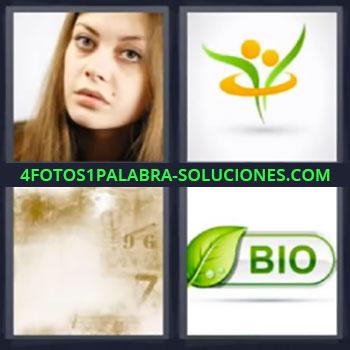 4 Fotos 1 Palabra - seis-letras bio, Cara mujer, Símbolo, Letrero borrado
