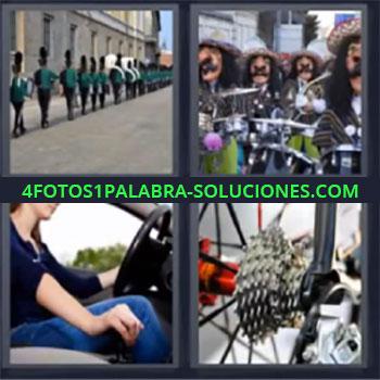 4 Fotos 1 Palabra - ocho-letras engranajes de bicicleta. Soldados en fila. Mujer conduciendo auto. Gente con caretas tocando música. Desfile. Hombres disfrazados. Desfilando. Plato de bicicleta.