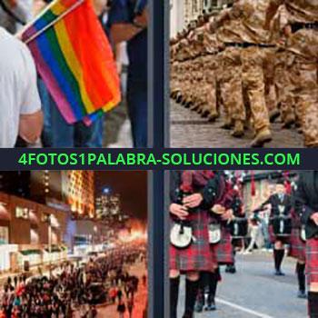 4 Fotos 1 Palabra - ocho-letras falda escocesa y gaitas. Banderas de colores orgullo gay. Militares. Calle llena de gente.
