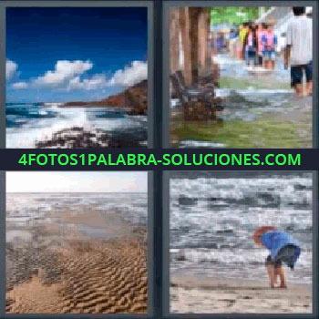 4 Fotos 1 Palabra - seis-letras inundación playa, Océano, Inundación, Marcas en arena de la playa, Olas u oleaje del mar.