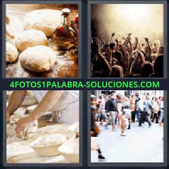 4 Fotos 1 Palabra - cinco-letras amasando pan, Panes, Gente en un concierto, Amasar, Gente por la calle.