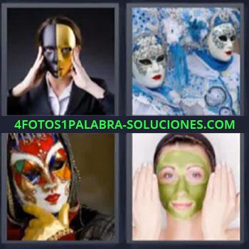4 Fotos 1 Palabra - ocho-letras disfraz mascarilla, Carnaval de Venecia, Careta, Mujer con crema en la cara.