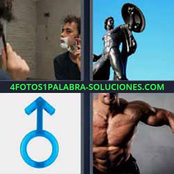 4 Fotos 1 Palabra - cinco-letras hombre afeitándose. Estatua. Símbolo hombre o varón. Hombre musculoso haciendo ejercicio.