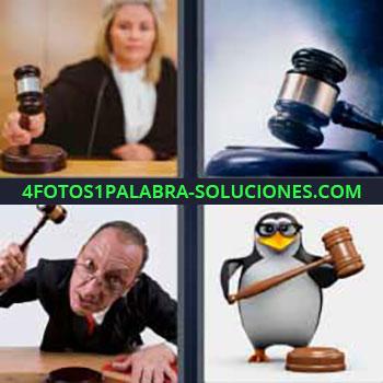 4 Fotos 1 Palabra - seis-letras jueza martillo. Juez golpeando martillo. Pingüino. Juicio. Tribunal.