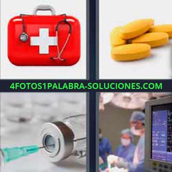 4 Fotos 1 Palabra - siete-letras maletín rojo cruz. Pastillas o píldoras amarillas. Inyección o vacuna. Quirófano hospital cirujanos.