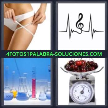 4 Fotos 1 Palabra - mujer con cinta metrica. Clave de sol. Probetas de laboratorio. Balanza o peso.