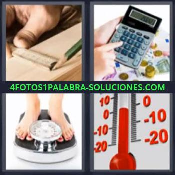4 Fotos 1 Palabra - ocho-letras calculadora termometro, Regla, Bascula o peso