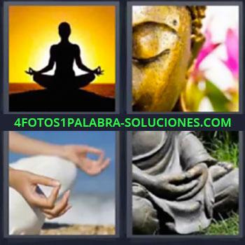 4 Fotos 1 Palabra - ocho-letras estatua de buda, Silueta de mujer con atardecer, Figura de un buda, Piernas y manos de mujer en postura relajación, Estatua budista.