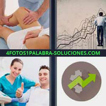 4 Fotos 1 Palabra - ocho-letras flecha ascendente verde. Fisioterapeuta pierna mujer. Gráfico ascendente. Pulgar arriba.