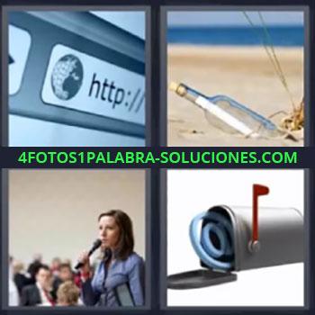 4 Fotos 1 Palabra - cuatro-letras botella buzon, Url en internet, Botella en playa con nota dentro, Señorita dando un discurso, Buzón de correos.