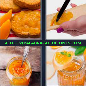 4 Fotos 1 Palabra - tostadas. Tostadas confitura. Bote de salsa. Compota durazno o melocotón. Jalea.