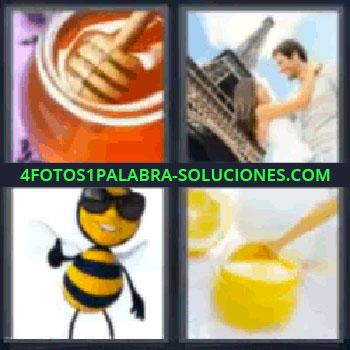 4 Fotos 1 Palabra - cinco-letras abeja miel, Bote de miel, Pareja y la Torre Eiffel, Abeja, Miel y Limón.