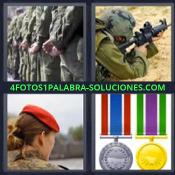 4 Fotos 1 Palabra - ocho-letras ejercito medallas. Soldado cuerpo a tierra disparando. Mujer soldado con gorra roja.