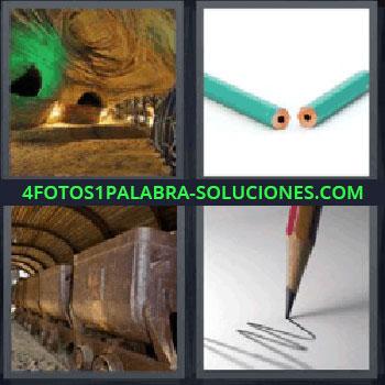 4 Fotos 1 Palabra - seis-letras lapiz roto, Cueva, Vagones de tren, Lápiz escribiendo.
