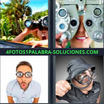 4 Fotos 1 Palabra - siete-letras de 5 letras. Mirando con prismáticos. Mujer en el oculista u oftalmólogo. Joven con gafas o lentes. Hombre con lupa.