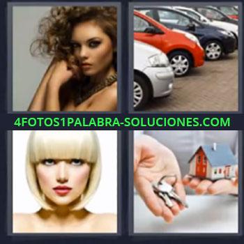4 Fotos 1 Palabra - mujer coches llaves. Llaves en mano y casa. Mujer peinado rubio.