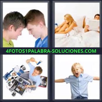 4 Fotos 1 Palabra - niño enfadado, Dos jóvenes chocando la cabeza, Pareja enfadados en la cama, Señor rompiendo con un hacha, Niño gritando.