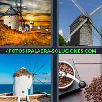 4 Fotos 1 Palabra - molinos de viento. Aspas enormes de madera. Molinillo de café.