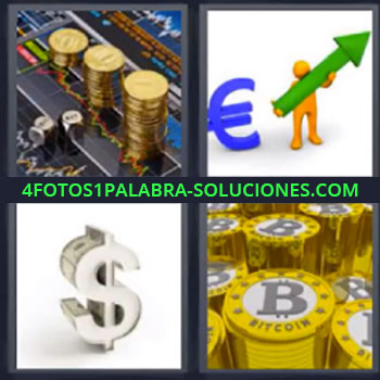 4 Fotos 1 Palabra - monedas euro flecha. Dolar. Dinero.