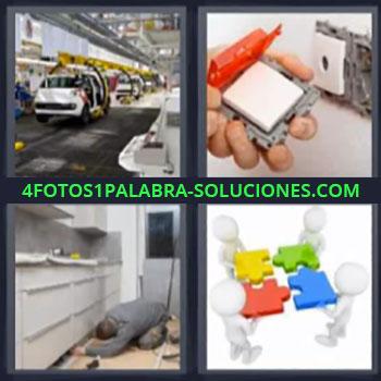 4 Fotos 1 Palabra - ocho-letras fabrica puzzle, Fabrica de autos, Electricista arreglando enchufes, Hombre arreglando en cocina.